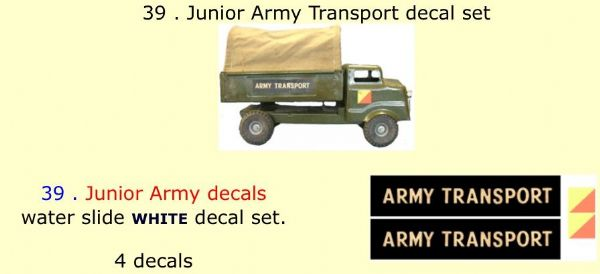 39 . Tri-ang Junior Army Transport decal set